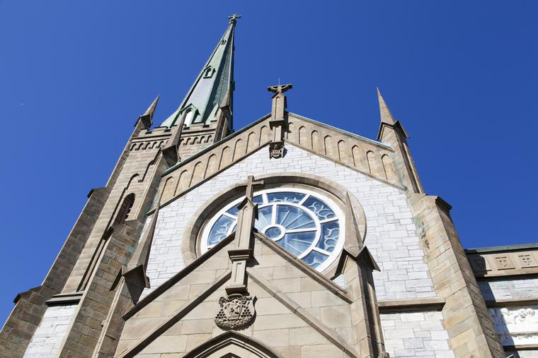 The facade of Cathedral of the Immaculate Conception in Saint John, New Brunswick, Canada.