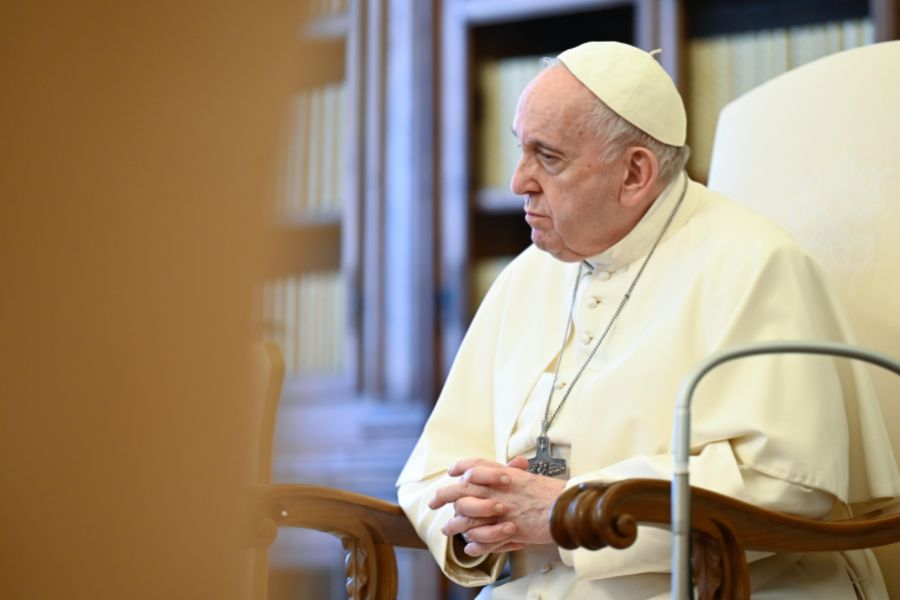 Pope Francis at his general audience address in the library of the Apostolic Palace May 5, 2021.