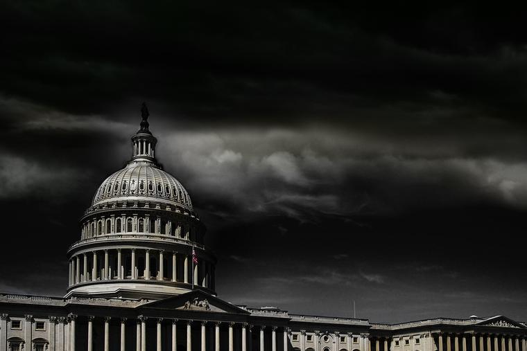 United States Capitol building in Washington, D.C. on a stormy day.