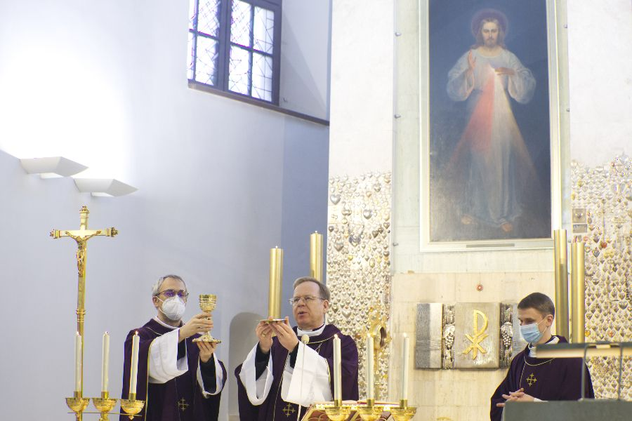 Archbishop Gintaras Grušas celebrates Mass at the Sanctuary of the Divine Mercy in Vilnius, Lithuania.