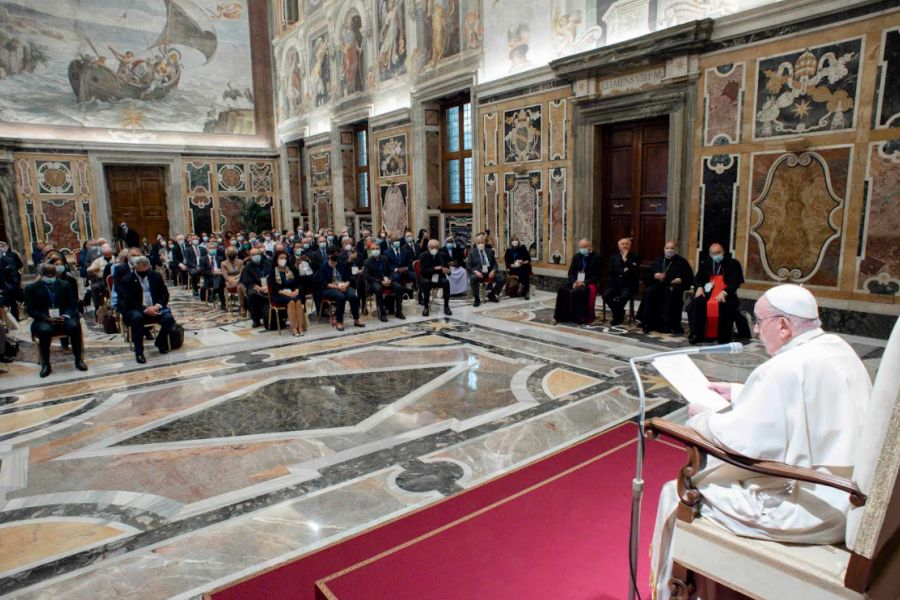 Pope Francis addresses participants in the plenary assembly of the Pontifical Academy for Life in the Vatican's Clementine Hall, Sept. 27, 2021.