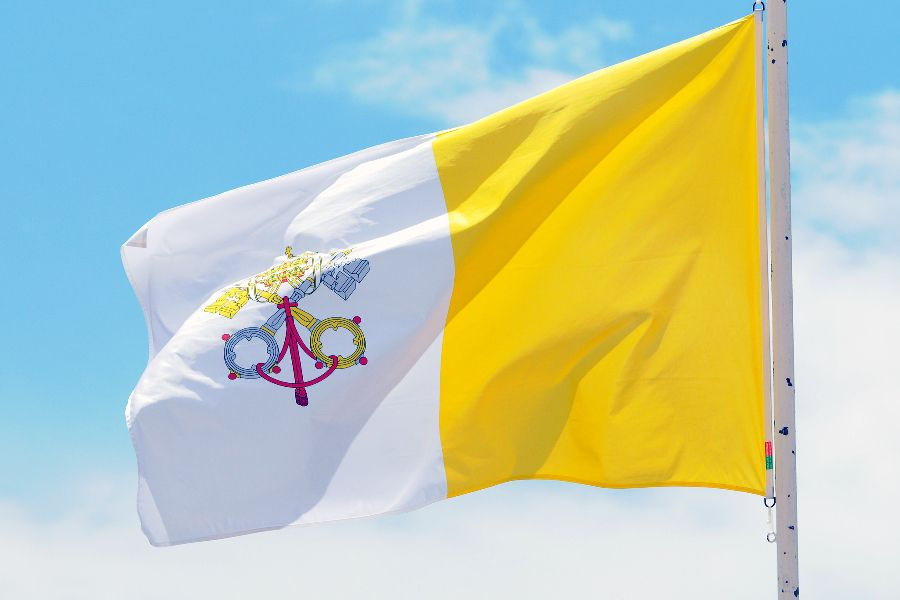 The flag of Vatican City.