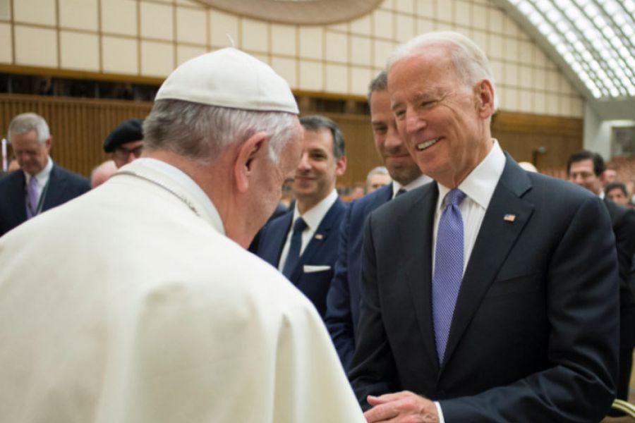 Pope Francis greets then-U.S. Vice President Joe Biden at the Vatican, April 29, 2016.