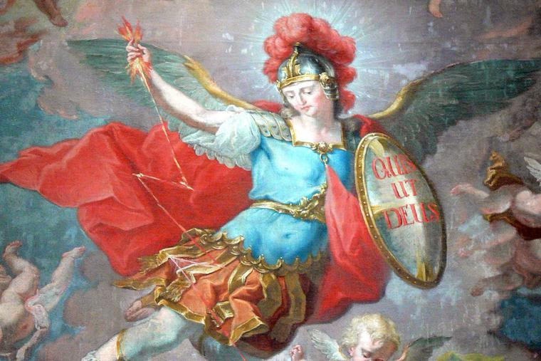 """Johann Georg Unruhe, """"Saint Michael the Archangel and the Fall of the Angels,"""" Untergriesbach, Germany, 1793"""