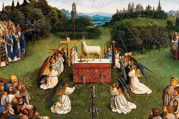 "Hubert van Eyck, ""Adoration of the Lamb"" (detail), Ghent Altarpiece, ca. 1429"