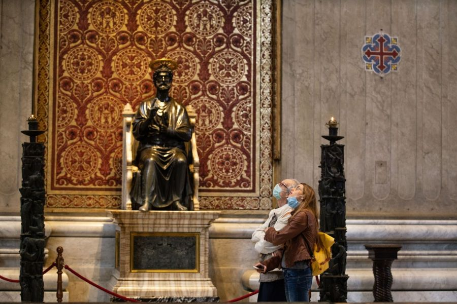 The bronze statue of St. Peter inside St. Peter's Basilica.