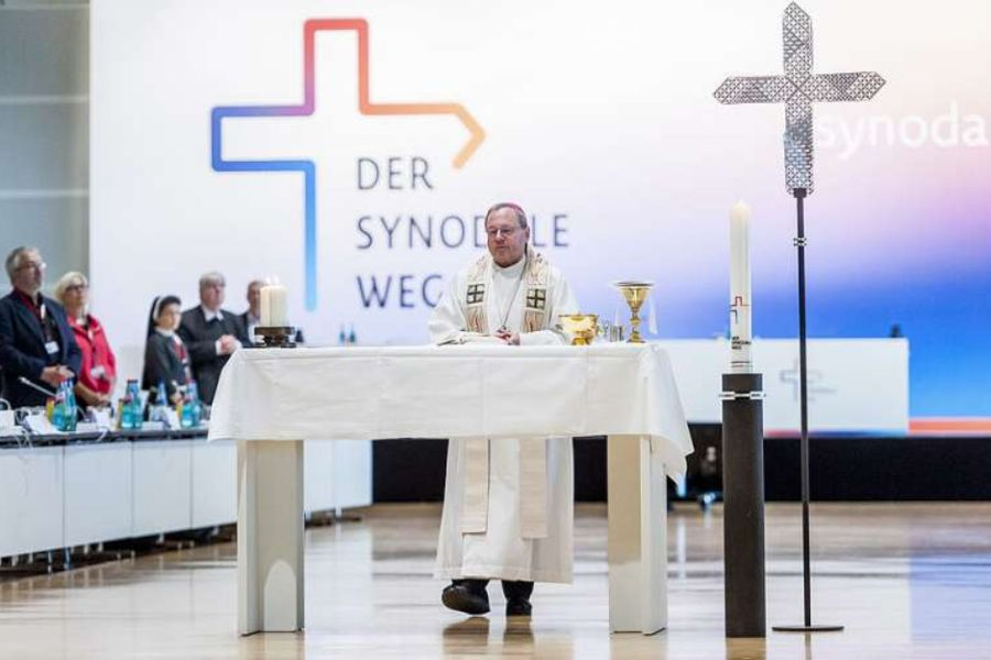 Bishop Georg Bätzing celebrates Mass at the second synodal assembly in Frankfurt, Germany, on Oct. 1, 2021.