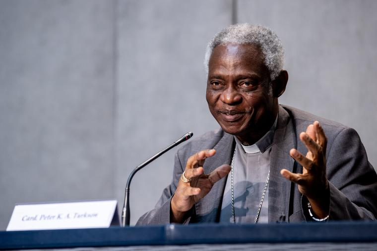 """Cardinal Peter Turkson, Prefect of the Dicastery for Promoting Integral Human Development, during a press conference on """"Preparing the future, building peace in the time of Covid-19"""" inside the Vatican Press Office, July 7, 2020."""