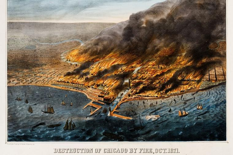 Above is an illustration of an aerial view of the Great Chicago Fire of 1871. The image shows a portion of the city on fire and ships and boats in Lake Michigan.