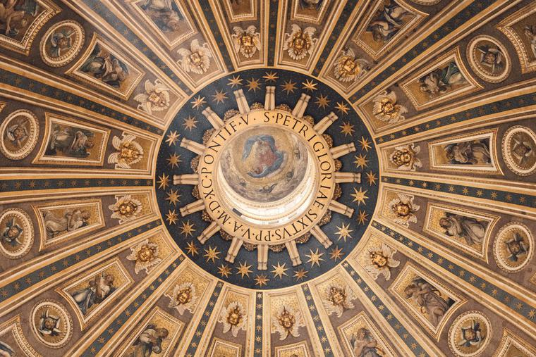 A look from inside the dome of St. Peter's Basilica in the Vatican.