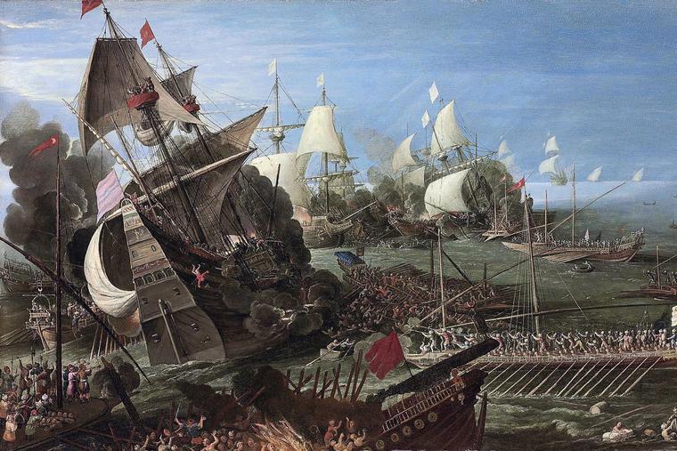 "Circle of Andries van Eertvelt (1590-1652), ""The Battle of Lepanto"""