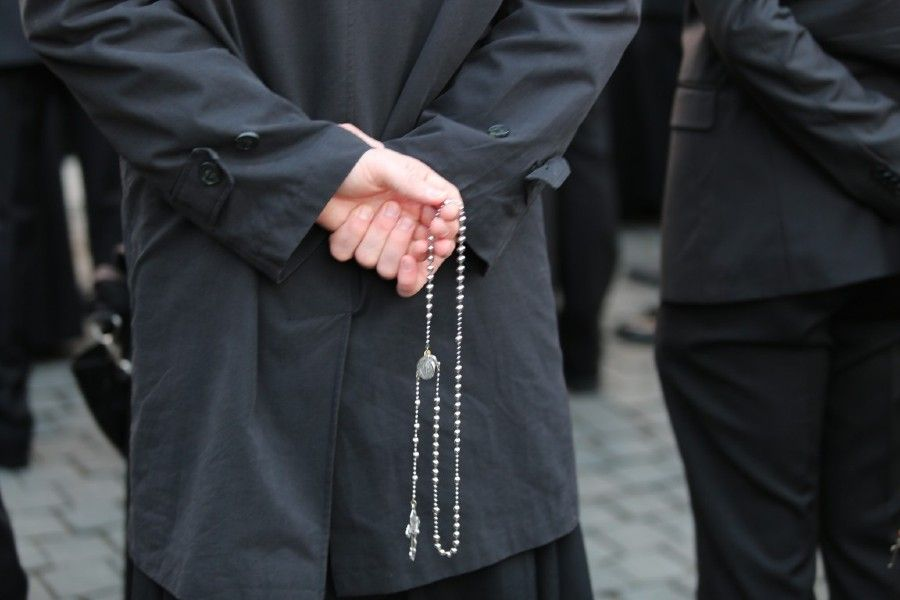 Seminarians from the North American College in Rome, Italy pray the rosary in St. Peter's Square for Pope Francis on March 13, 2016.