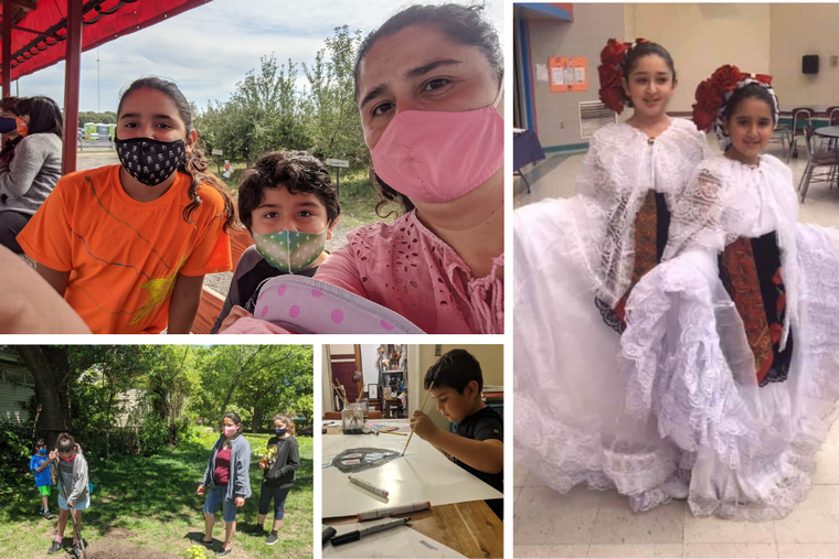The Quiñones family on an outing to a farm, during a dance recital, drawing, and assisting to build a community garden in Gary, Indiana.