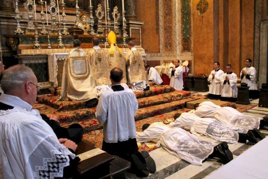The prostration of the ordinandi during the Litany of the Saints at Santissima Trinità dei Pellegrini, the FSSP's parish in Rome, June 22, 2013.