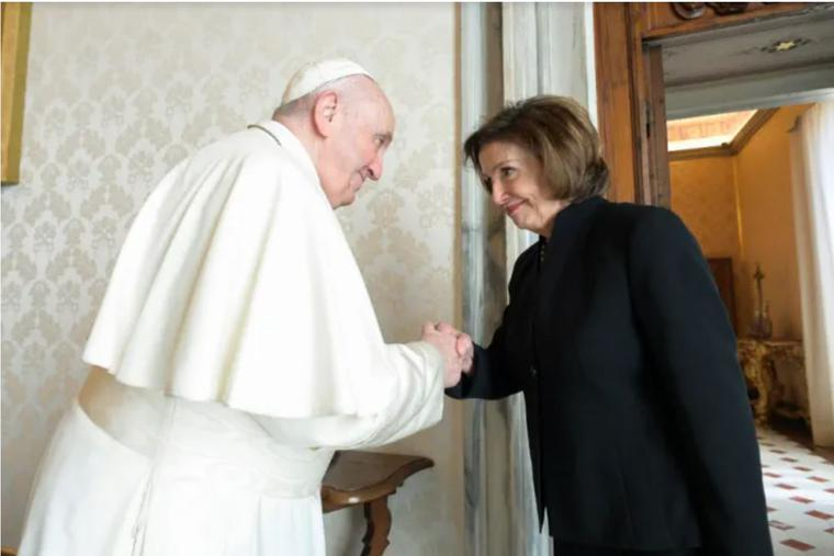 Pope Francis greets House Speaker Nancy Pelosi at the Vatican Oct. 9.