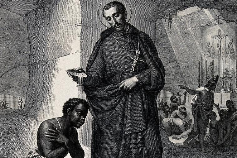 """""""Saint Peter Claver."""" Engraving by J. Vitta after P. Gagliardi"""