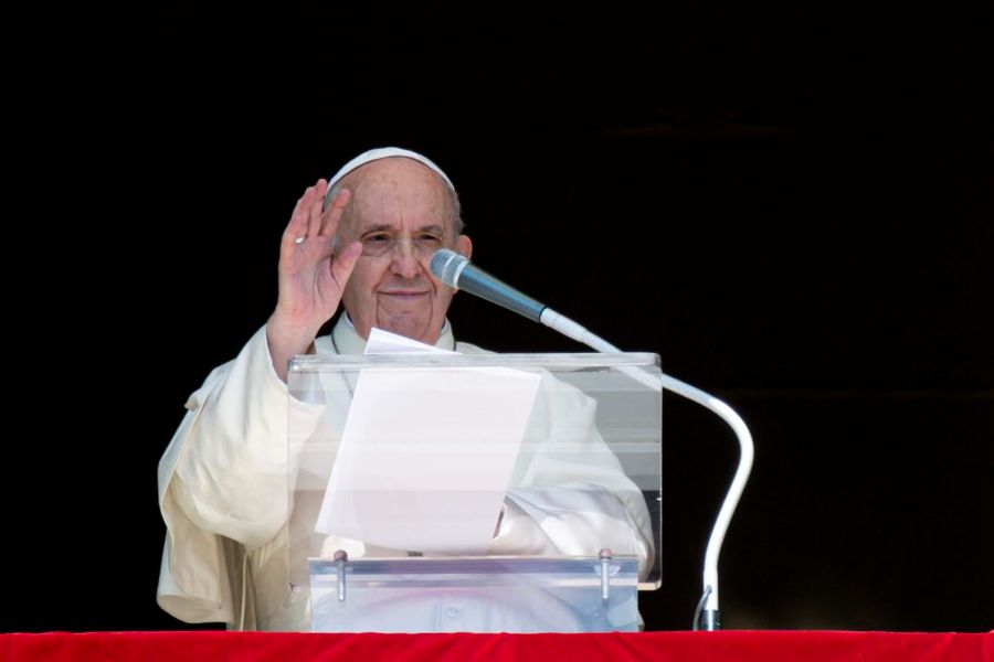 Pope Francis delivers his Angelus address at the Vatican on Oct. 10.