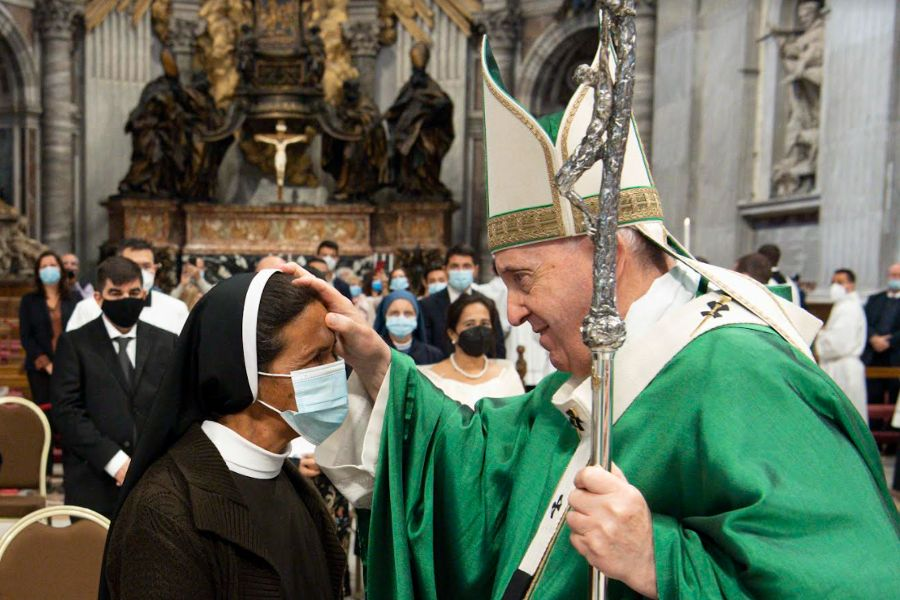 Pope Francis greets the recently freed Sister Gloria Cecilia Narváez Argoti at the Vatican, Oct. 10, 2021.