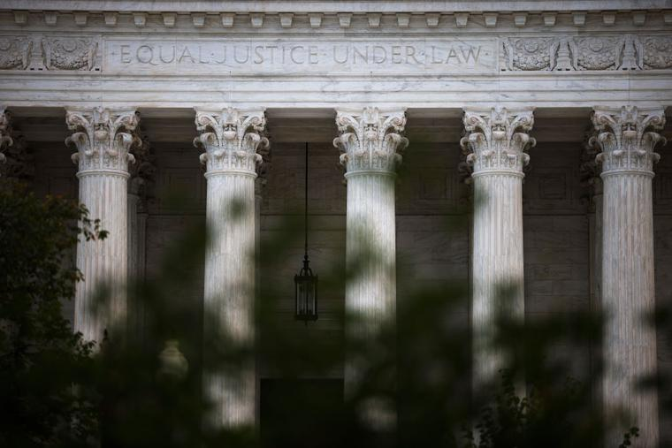 The U.S. Supreme Court is seen on Oct. 5 in Washington. The high court is holding in-person arguments for the first time since the start of the COVID-19 pandemic.