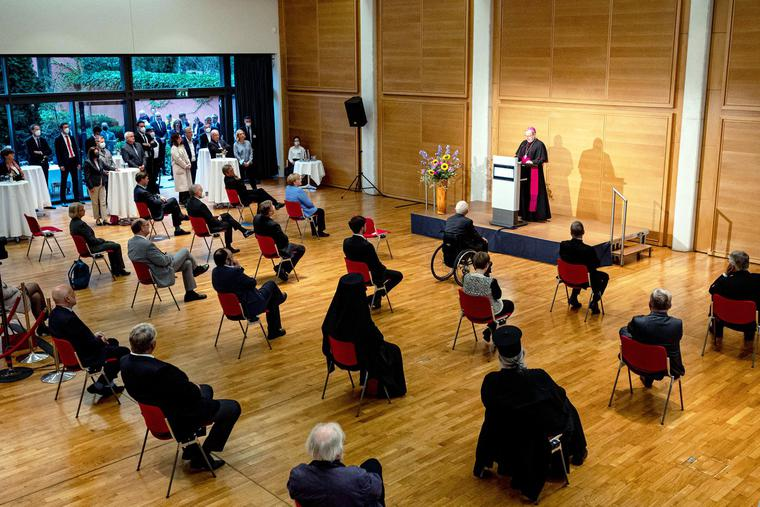 Georg Bätzing, Chairman of the German Bishops' Conference, addresses the annual reception of the German Bishops in Berlin on Sept. 27.