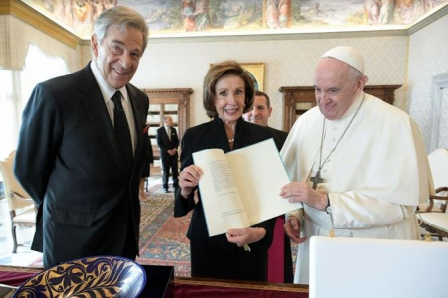 House Speaker Nancy Pelosi (center) with Pope Francis (right), during their Oct. 9 meeting at the Vatican.