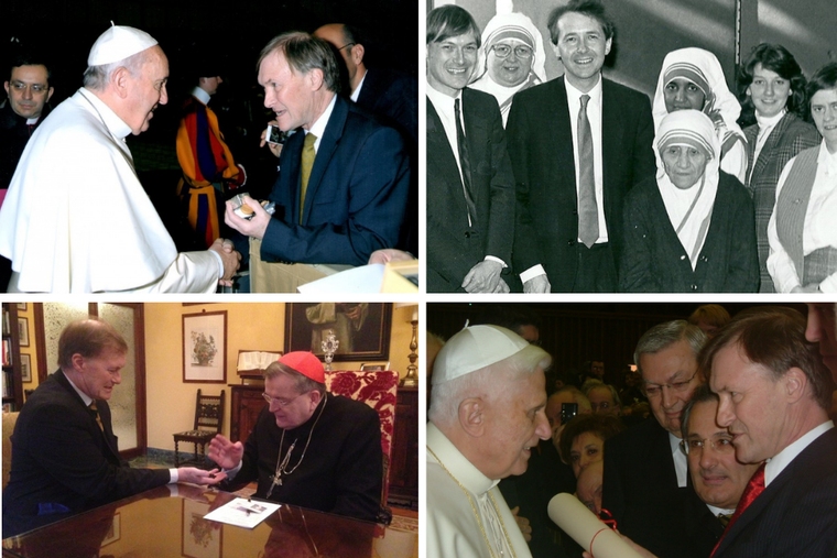 (T-L) David Amess with Pope Francis in 2015. (T-R) Sir David Amess on the far left next to Lord Alton with St. Teresa of Calcutta 1988. (B-L) Meeting with Cardinal Burke in 2015.  (B-R) Sir David Amess meeting Benedict during the first visit of the All Party Parliamentary Group on the Holy See, March 2006.