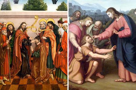 "LEFT: Fernando Gallego, ""The Healing of Blind Bartimaeus,"" 1480-1488. RIGHT: Václav Mánes, ""Healing the Blind Man,"" 1832."
