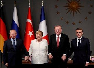 Vladimir Putin, Angela Merkel, Redžep Tajip Erdogan, Emanuel Makron