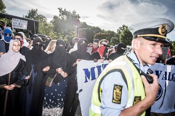 Kopenhagen, protest burka