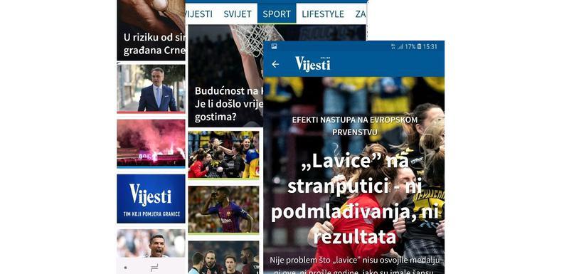 Novi izgleda aplikacije Vijesti
