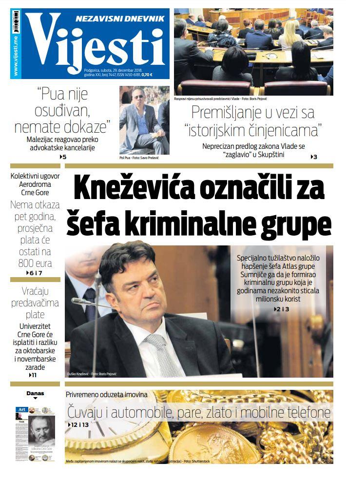 """Naslovna strana """"Vijesti"""" za 29. decembar"""