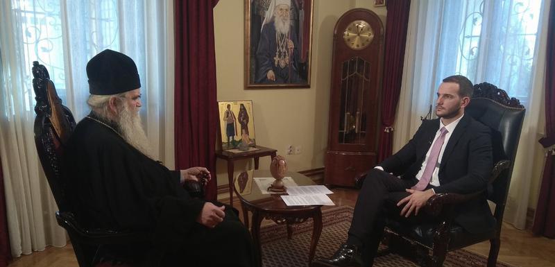 Mitropolit Amfilohije u razgovoru sa novinarom Vijesti Ananijem Jovanovićem