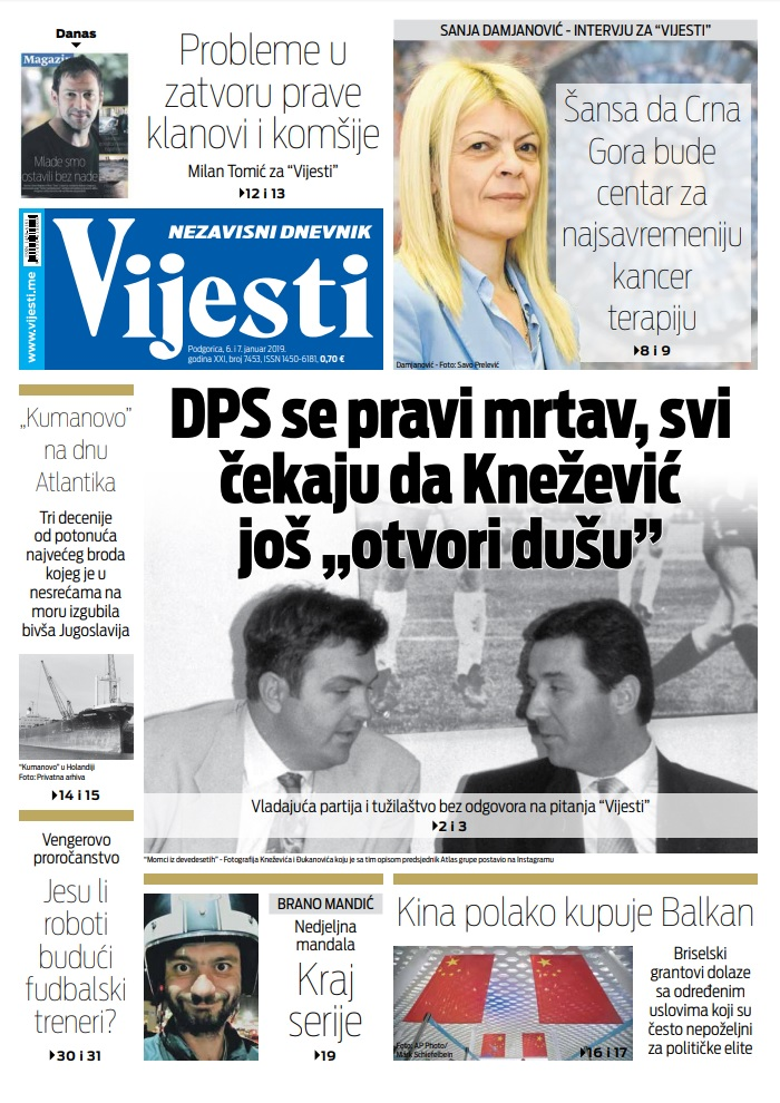 """Naslovna strana """"Vijesti"""" za 6. i 7. januar"""