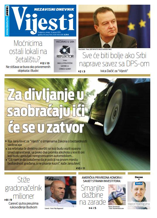 """Naslovna strana """"Vijesti"""" za 8. januar"""