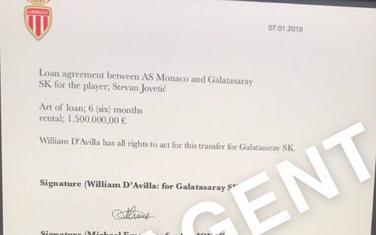 Dokument o transferu Jovetića u Galatasaraj