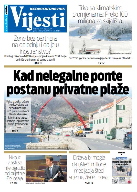 Naslovna strana Vijesti za 9. januar