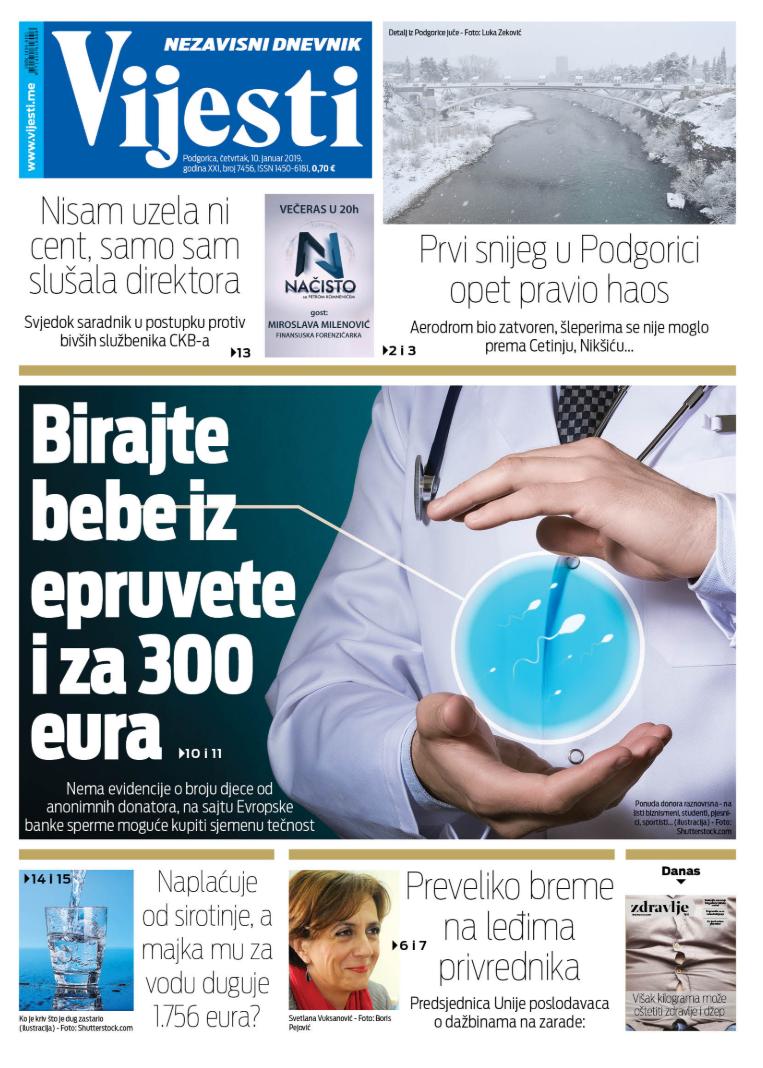 """Naslovna strana """"Vijesti"""" za 10. januar"""