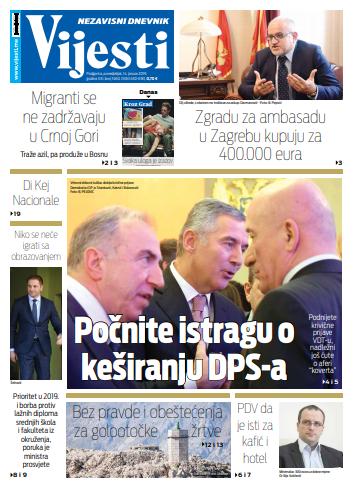 """Naslovna strana """"Vijesti"""" za 14. januar"""