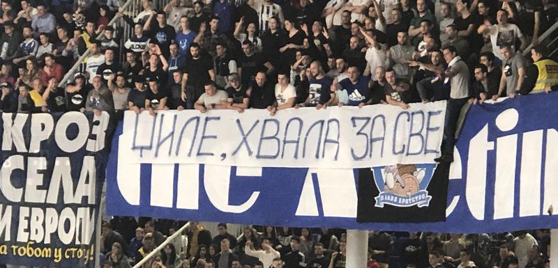 Transparent navijača Budućnosti