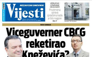 """Naslovna strana """"Vijesti"""" za 19. januar"""