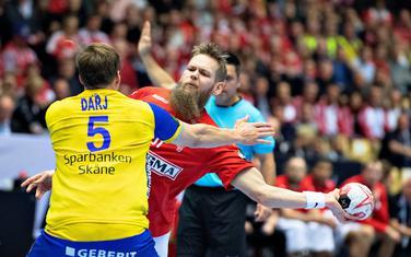 Danac Nikolaj Nilsen na utakmici sa Švedskom