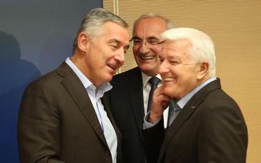 Članovi Predsjedništva DPS, Milo Đukanović, Duško Marković i Tarzan Milošević