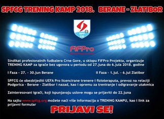 Sindikat profesionalnih fudbalera Crne Gore trening kamp