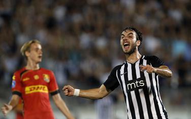 Marko Janković slavi gol protiv Nordsjelanda u kvalifikacijama za Ligu Evrope