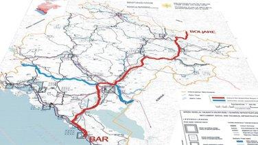 Mapa autoputa Bar-Boljare