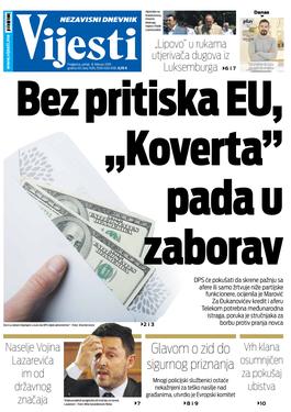 """Naslovna strana """"Vijesti"""" za 8. februar"""