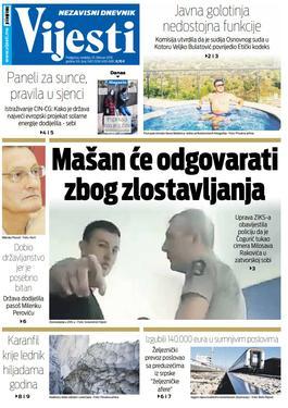 """Naslovna strana """"Vijesti"""" za 10. februar"""
