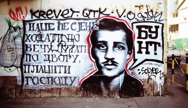 Gavrilo Princip, grafit (Novine)