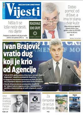"""Naslovna strana """"Vijesti"""" za 12. februar"""