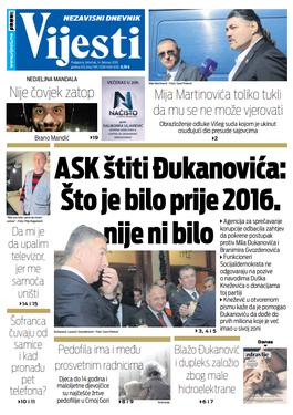 """Naslovna strana """"Vijesti"""" za 14. februar"""